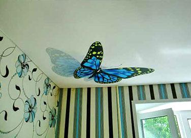 Сатиновый потолок с фотопечатью 12 м²