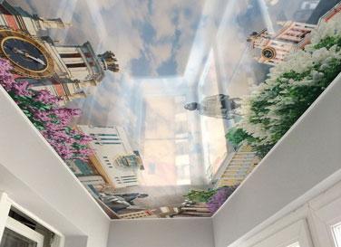 Глянцевый  потолок с фотопечатью 4,4 м²