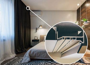 Алюминиевый карниз, интегрированный в потолок