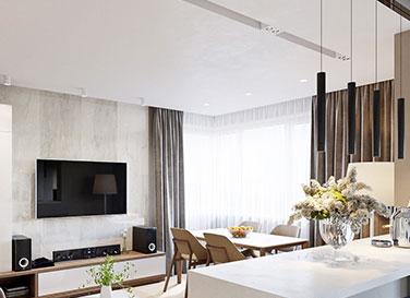 Натяжной потолок в гостиной с белой нишей Slott