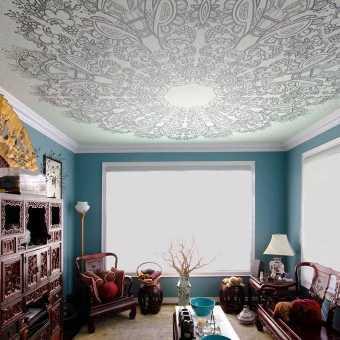 Стильные потолок с фотопечатью в гостиной