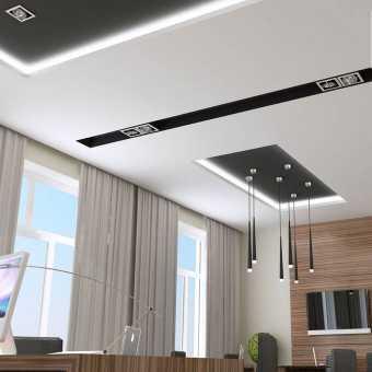 Проект интерьера с чёрными нишами Lumfer и двухуровневой конструкцией