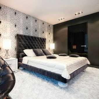 Стильный интерьер с потолком MSD Premium в спальне