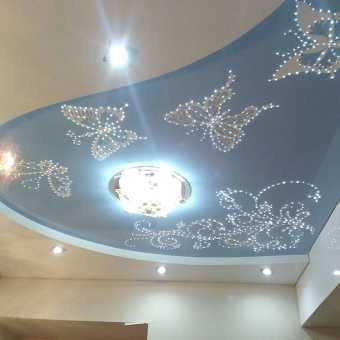 Изящный инкрустированный натяжной потолок. Рисунок