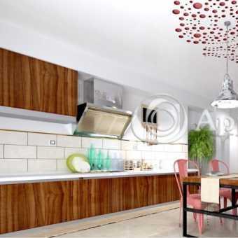 Резной натяжной потолок Apply в кухне