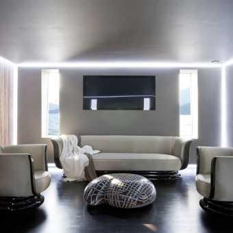 Проект парящего натяжного потолка в минималистичном интерьере