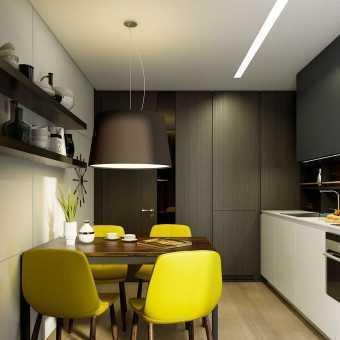 Сатиновый натяжной потолок в кухне с диодной подсветкой уровня
