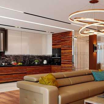 Черная ниша Slott с трековыми светильниками в натяжном потолке в гостиной