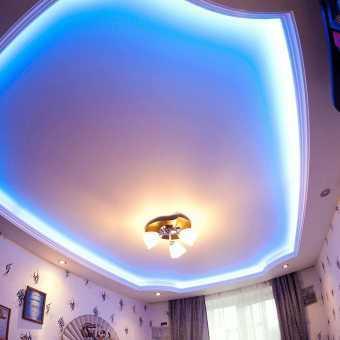 Многоуровневый натяжной потолок с RGB светодиодной  подсветкой New Line