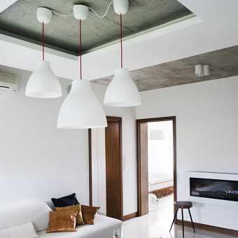 Двухуровневый натяжной потолок под бетон
