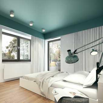 Зеленый матовый потолок в спальне