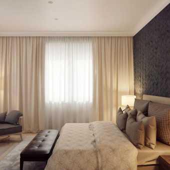 Простой белый матовый натяжной потолок в гостиной