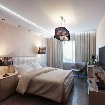 Потолок MSD Classic с люстрой и светодиодной подсветкой в спальне