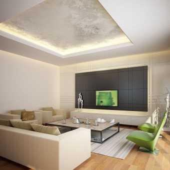Двухуровневый натяжной потолок с диодной подсветкой в гостиной