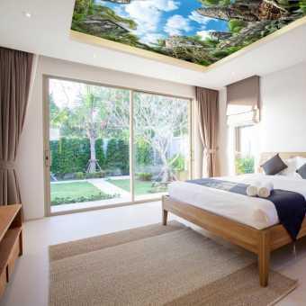 Проект потолка с фотопечатью в спальне