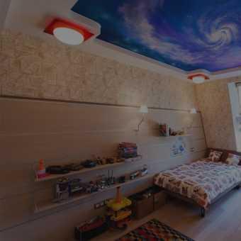 Потолок с фотопечатью небо, облака в детской