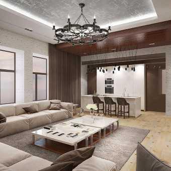 Двухуровневый натяжной потолок с диодной подсветкой в гостиной. Фактура Loft