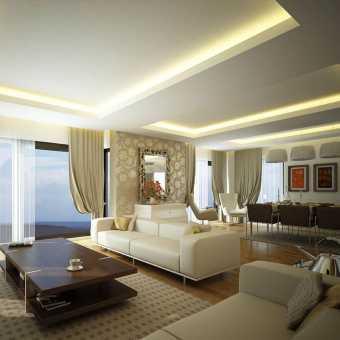 Многоуровневый натяжной потолок с монохромной светодиодной  подсветкой New Line