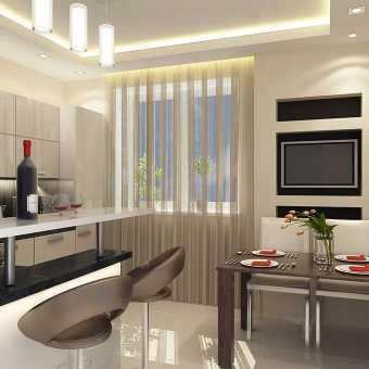 Двухуровневый потолок с диодной подсветкой в кухне