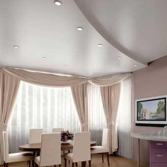 Двухуровневый сатиновый потолок