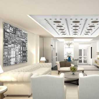 Резной натяжной потолок Apply в гостиной