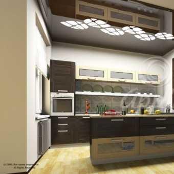 Резной потолок Apply  на потолке в кухне