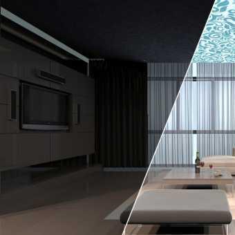 Натяжной потолок Double vision в спальне