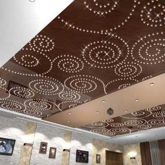 Потолок с кристаллами - фото реального интерьера