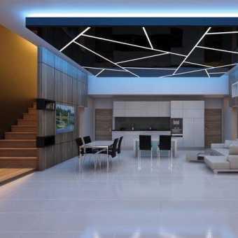 световые линии на чёрном потолке