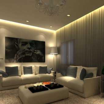 Проект парящего натяжного потолка в стильном минималистичном интерьере