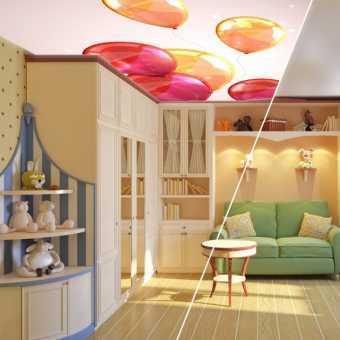 Натяжной потолок Double vision в детской с шарами