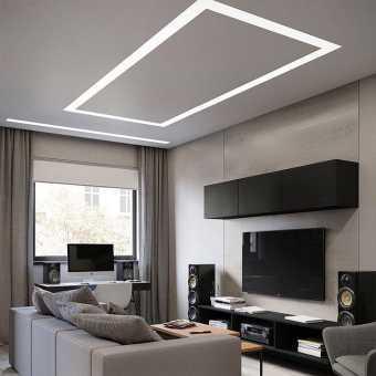 Интерьер с студии гостиной со световой нишей Slott