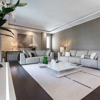 Двухуровневый тканевый потолок Clipso в гостиной